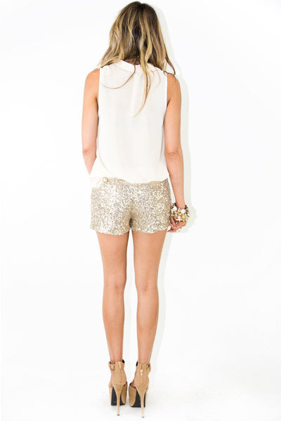 GOLD SEQUIN SHORTS WITH ZIPPER - Haute & Rebellious