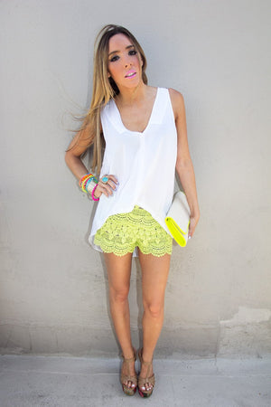 CROCHET SHORTS - Neon Lime - Haute & Rebellious