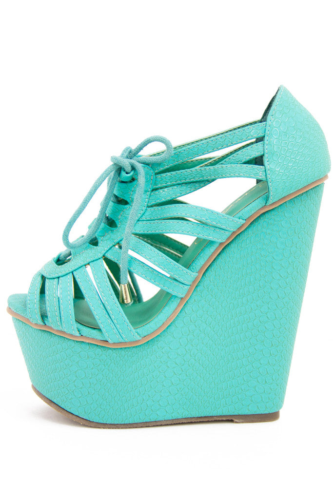 VICKY WEDGE - Electric Mint - Haute & Rebellious