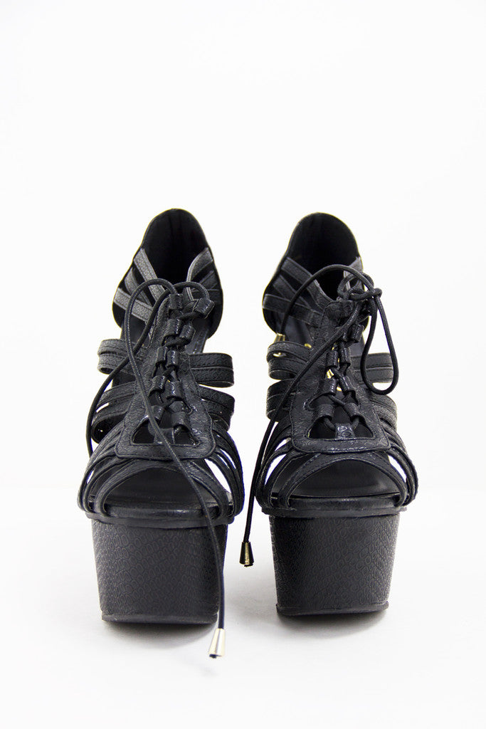 VICKY WEDGE - Black