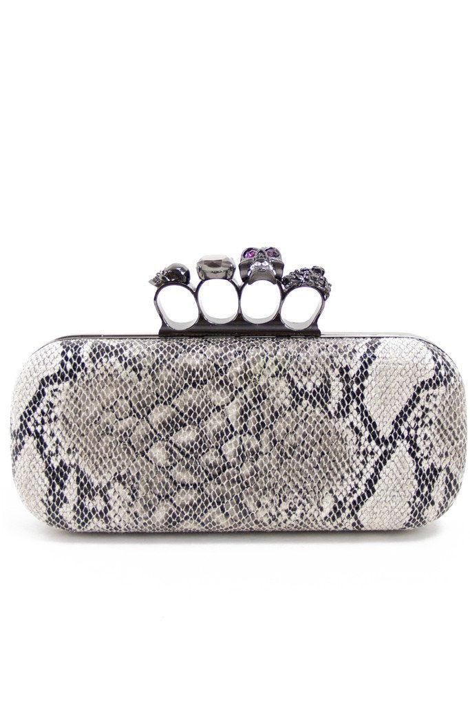 BRASS KNUCKLES CLUTCH - Snake Skin