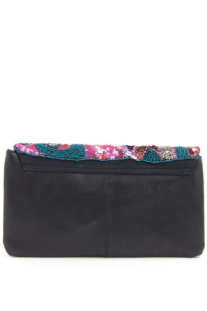 FLORAL PRINT SEQUIN CLUTCH