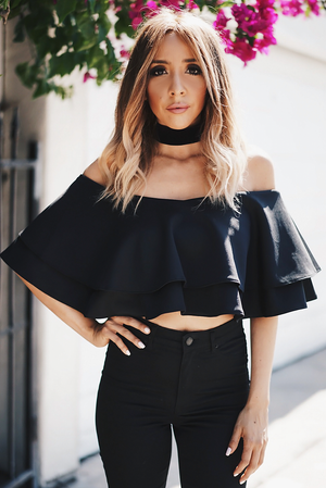 Celia Ruffle Off-Shoulder Top - Black - Haute & Rebellious