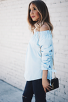 Mia Bow-Tie Off-Shoulder Top - Blue - Haute & Rebellious