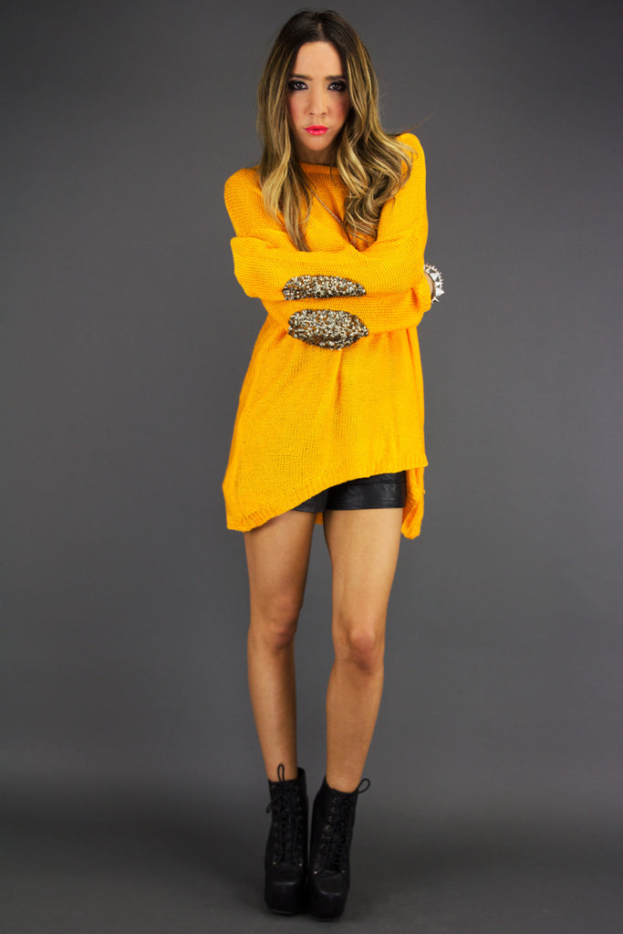 SEQUIN ELBOW PADS SWEATER - Neon Mustard