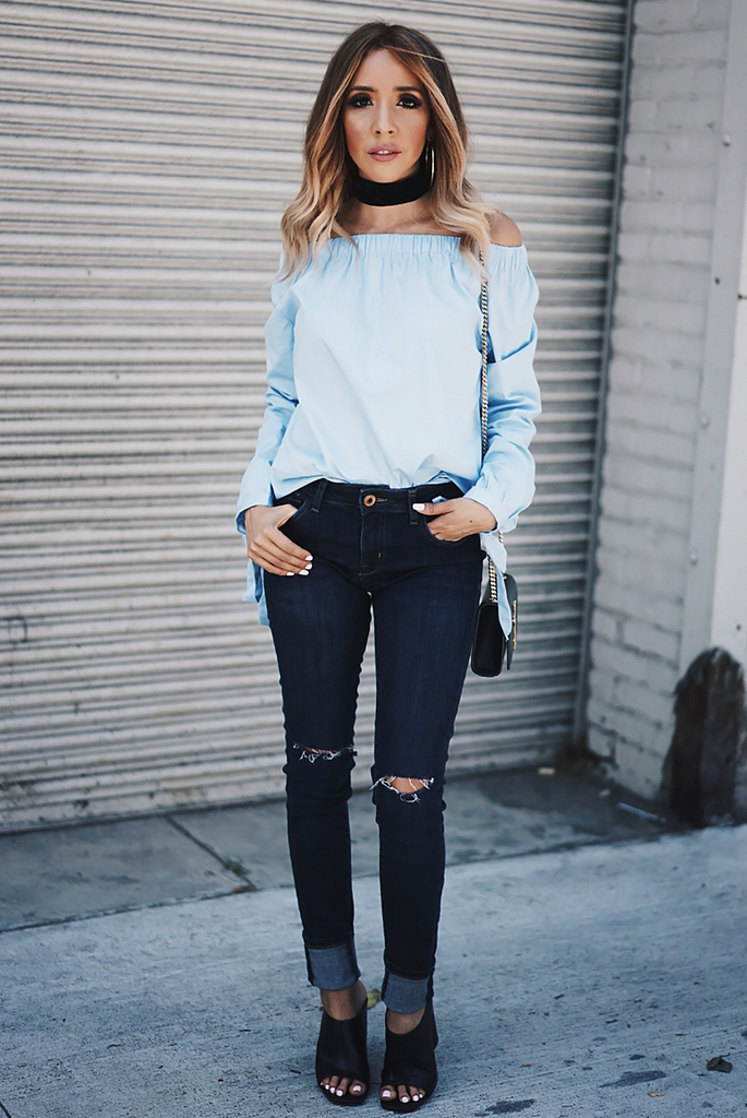 Mia Bow-Tie Off-Shoulder Top - Blue