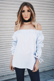 Mia Bow-Tie Off-Shoulder Striped Top
