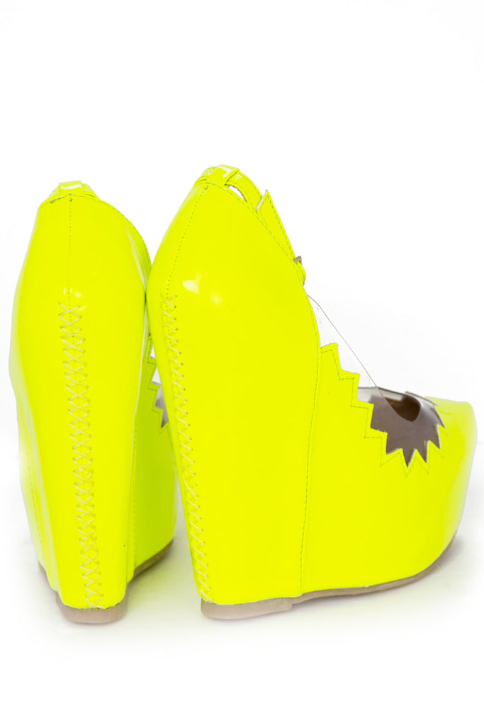 ZIG-ZAG CONTRAST CLEAR WEDGE - Highlighter Lime Yellow