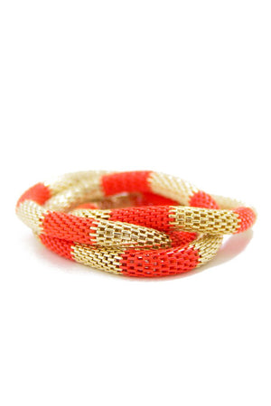 GOLD & ORANGE MULTI BRACELETS - Haute & Rebellious