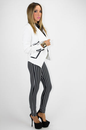 JACKET WITH BLACK TRIM - White - Haute & Rebellious