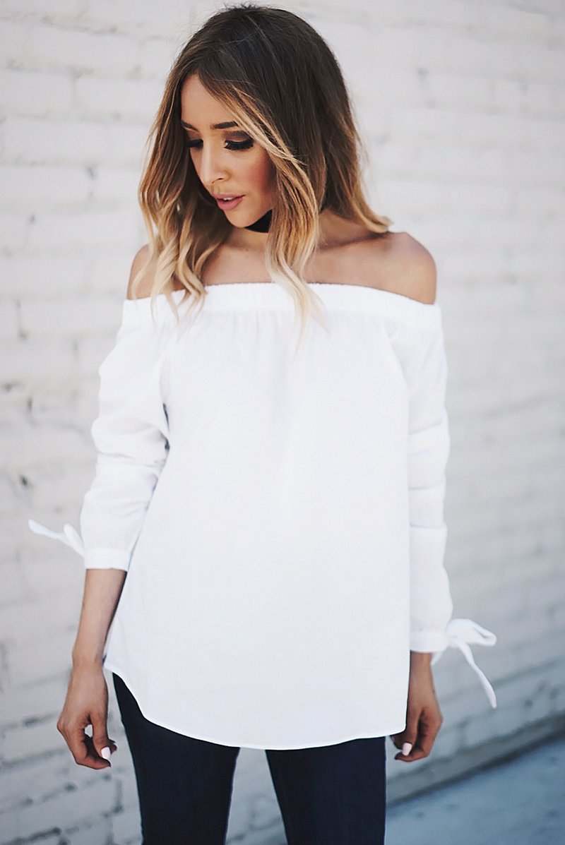 Mia Bow-Tie Off-Shoulder Top - White - Haute & Rebellious