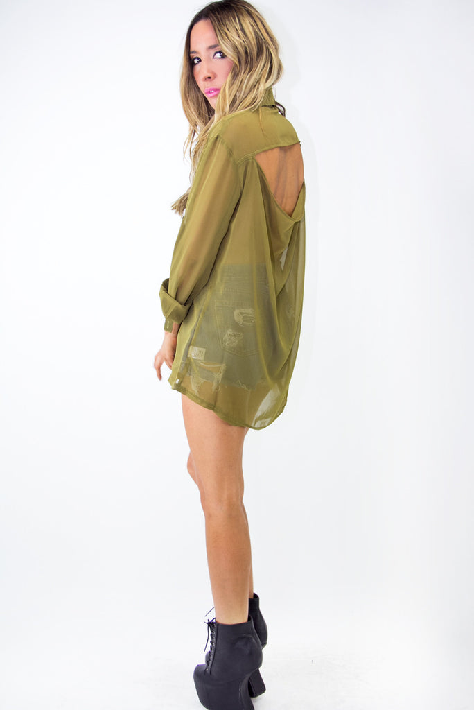 STUDDED CROSS CHIFFON BLOUSE - Olive