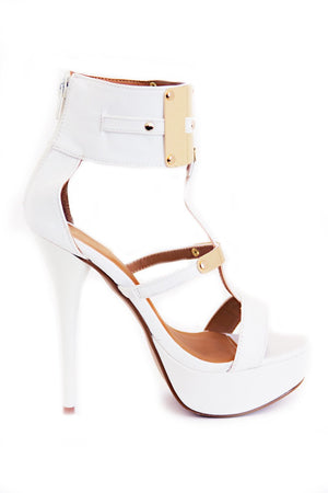 FARAH GOLD PLATED HEEL - White - Haute & Rebellious