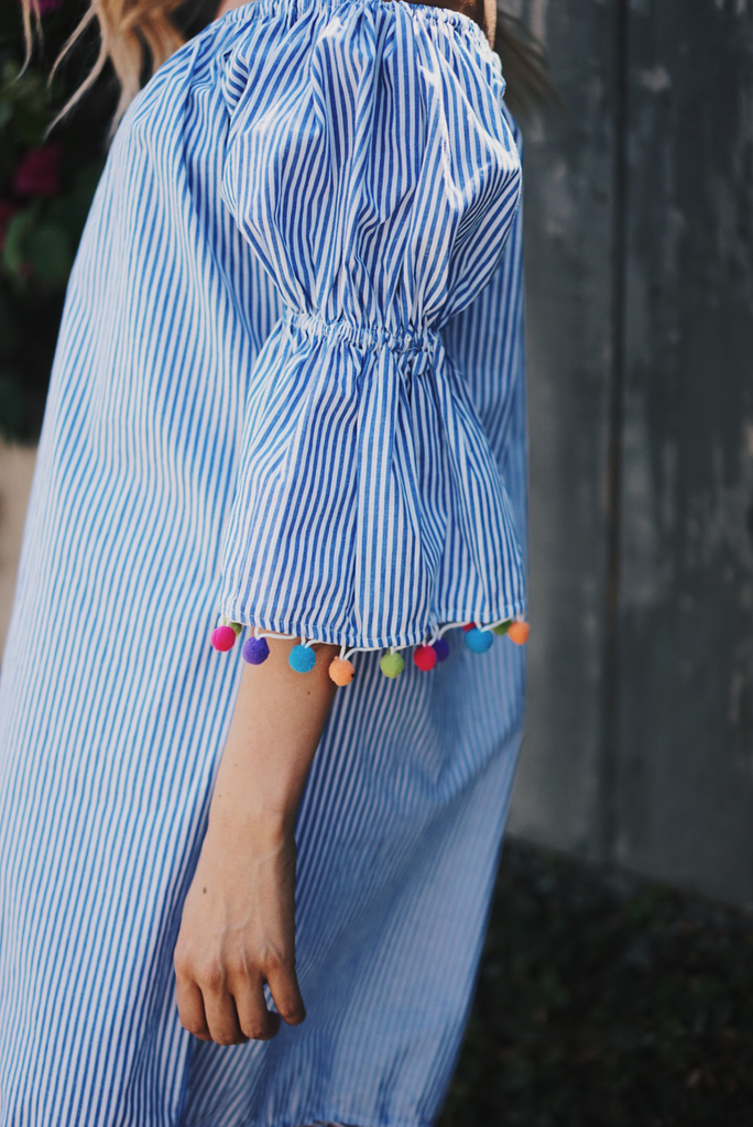Lolita Pom-Pom Striped Dress