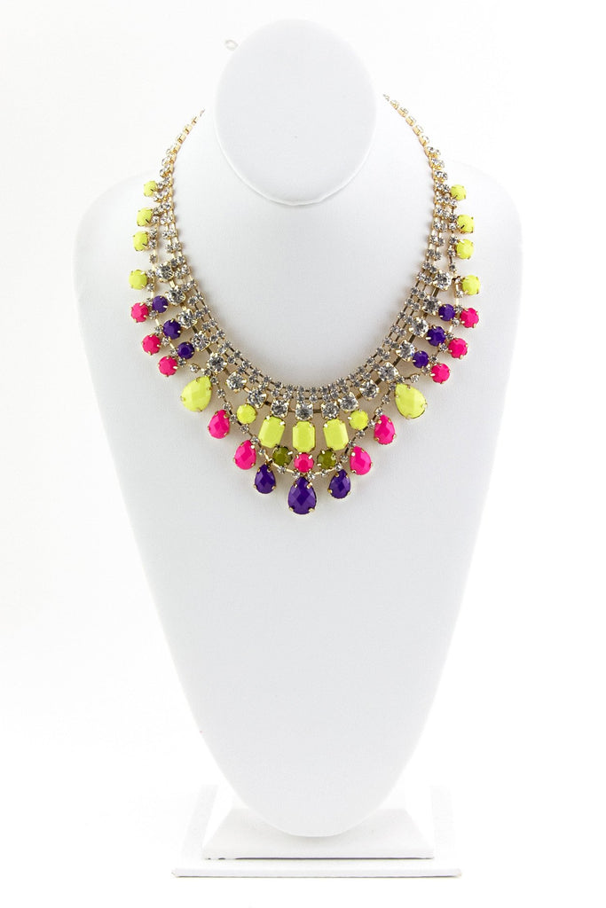 CRYSTALS & GEMS GODDESS NECKLACE - Yellow/Purple