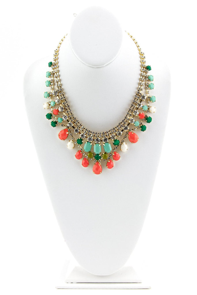 CRYSTALS & GEMS GODDESS NECKLACE - Coral/Teal
