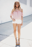 Ruffle Me Off Shoulder Top - Blush /// ONLY 1-L LEFT/// - Haute & Rebellious