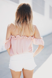 Ruffle Me Off Shoulder Top - Blush /// ONLY 1-L LEFT///