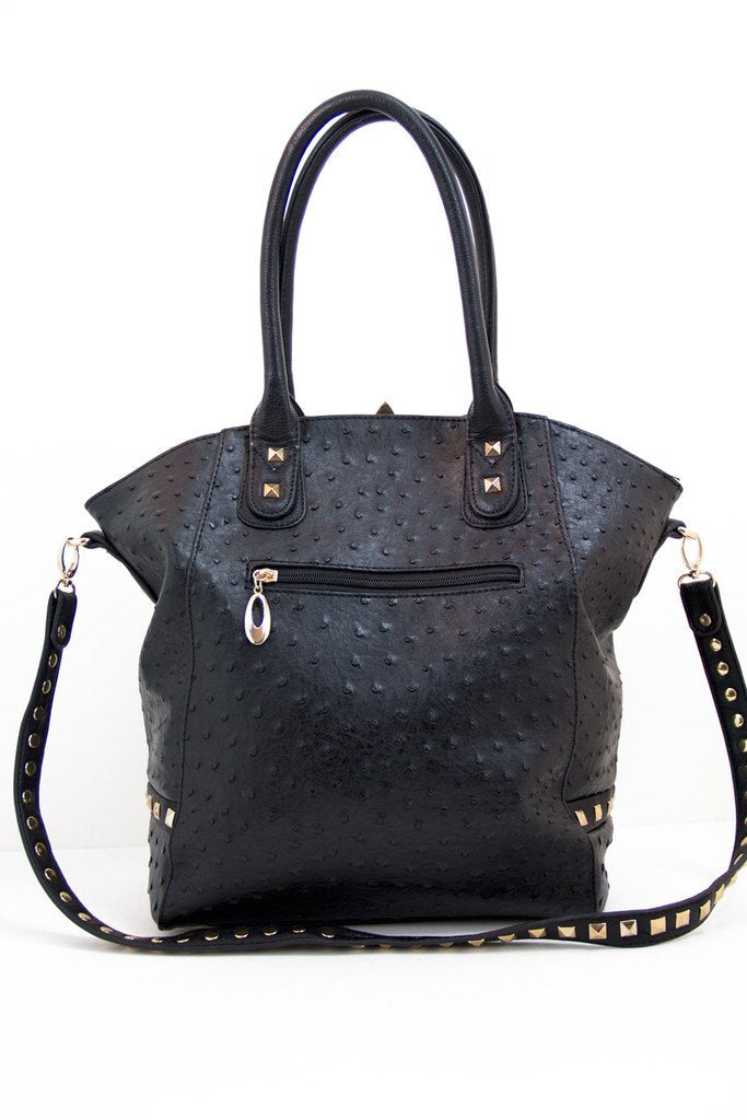 JAMES GOLD STUDDED BAG - Black