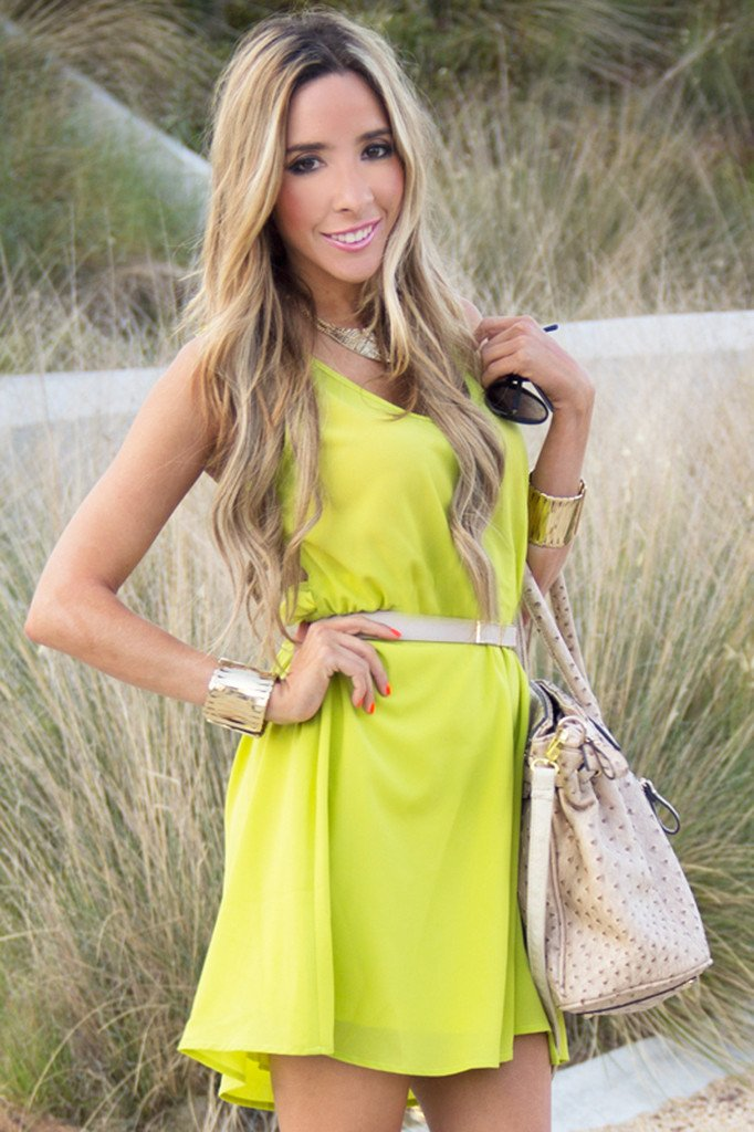 NEON BACK CUTOUT DRESS - Lime Green