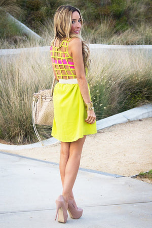 NEON BACK CUTOUT DRESS - Lime Green - Haute & Rebellious