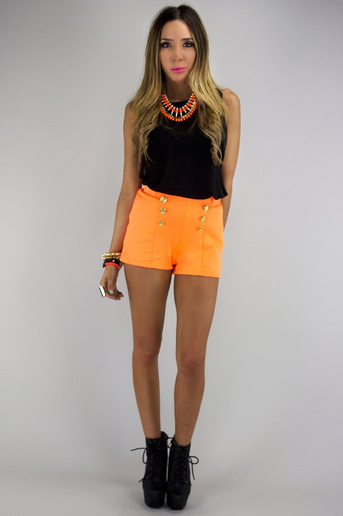 LEX GOLD BUTTON SHORTS - Neon Orange
