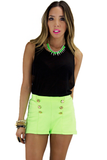 LEX GOLD BUTTON SHORTS - Neon Green (Final Sale)