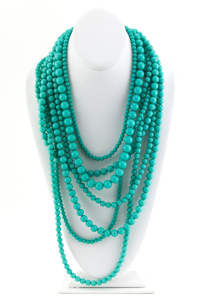 TURQUOISE MULTI PEARL NECKLACE