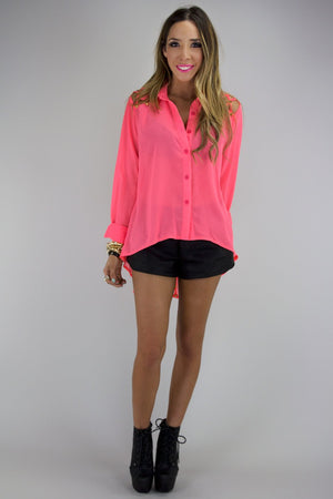 BRAID CUTOUT WITH GOLD STUDS BLOUSE - Neon Pink - Haute & Rebellious