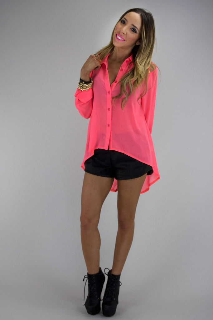 BRAID CUTOUT WITH GOLD STUDS BLOUSE - Neon Pink