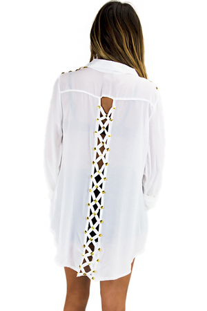 BRAID CUT OUT WITH GOLD STUDS BLOUSE - White - Haute & Rebellious