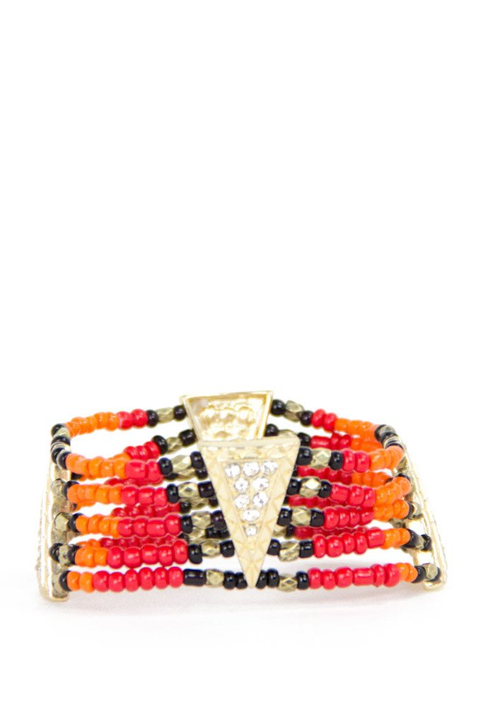NATIVE BEADED BRACELET - Orange/Red (Final Sale)