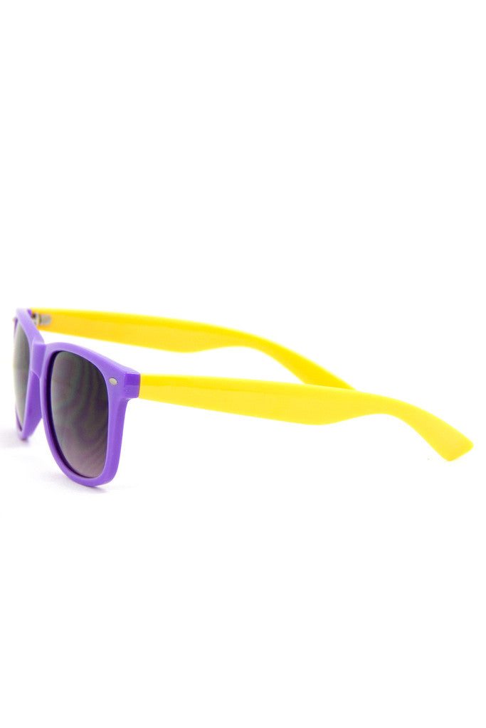 PURPLE AND YELLOW SUNGLASSES