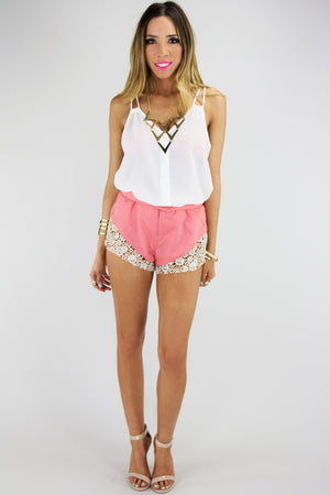 CAITLIN CROCHET DETAIL SHORTS - Peach - Haute & Rebellious