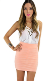 MINI PENCIL SKIRT - Neon Peach
