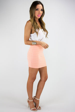MINI PENCIL SKIRT - Neon Peach - Haute & Rebellious