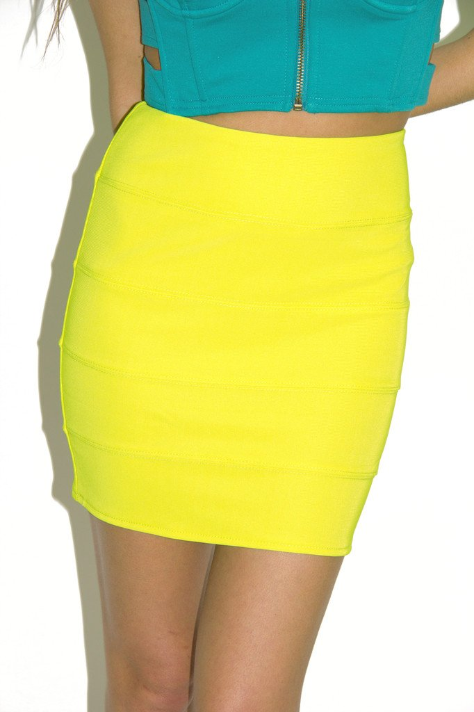 BANDAGE MINI SKIRT - Neon Lime