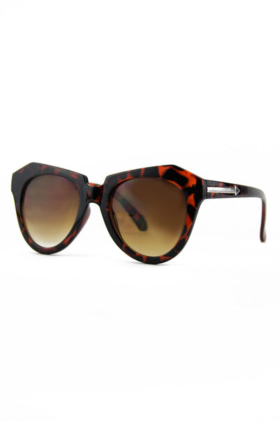 SQUARE CAT EYE SUNGLASSES - Tortoise