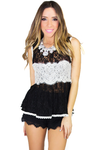 LACE CROCHET DETAIL KNIT TOP - Haute & Rebellious