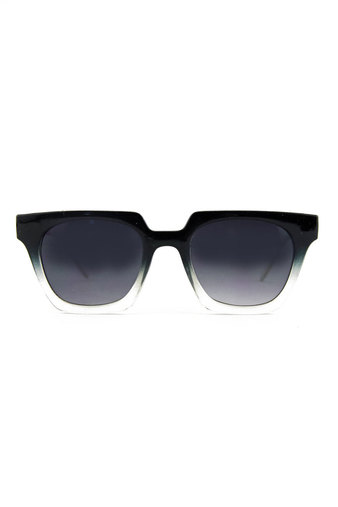 RECTANGULAR FRAME SUNGLASSES - Black/Clear