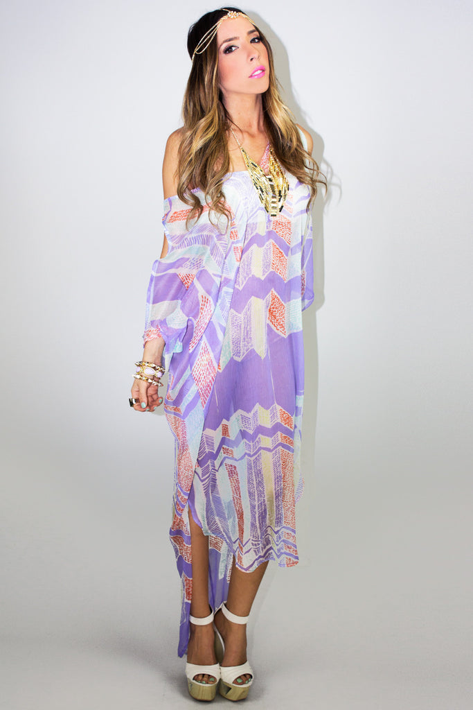 SHEER KIMONO COVER UP - Purple - Haute & Rebellious