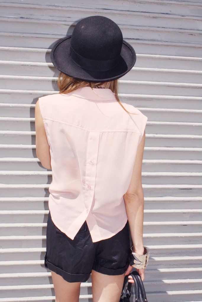 CHIFFON CROPPED TOP - Blush