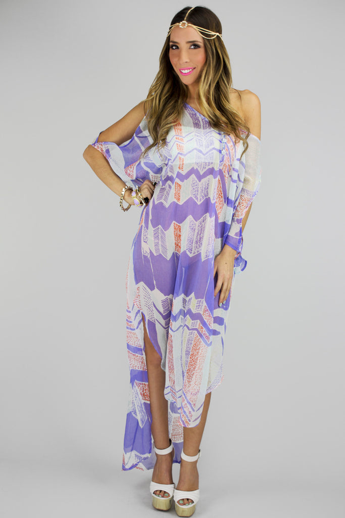 SHEER KIMONO COVER UP - Purple