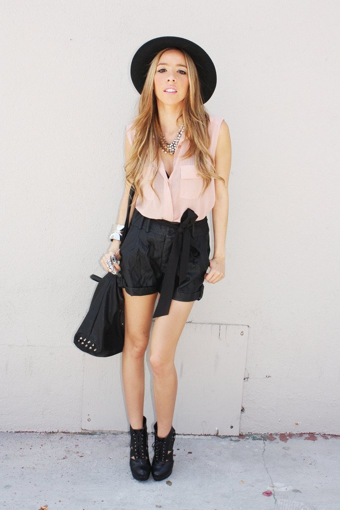 BLACK LEATHER TIE SHORTS - Haute & Rebellious