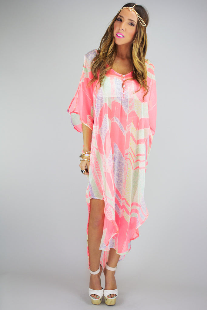 SHEER KIMONO COVER UP - Neon Peach