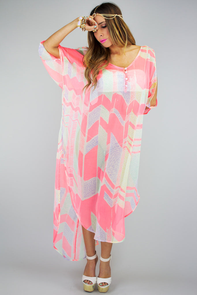 SHEER KIMONO COVER UP - Neon Peach - Haute & Rebellious