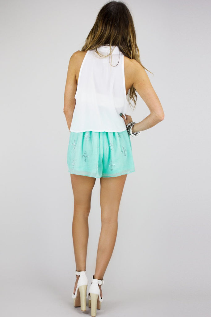 CHIFFON SHORTS WITH CROSSES - Mint