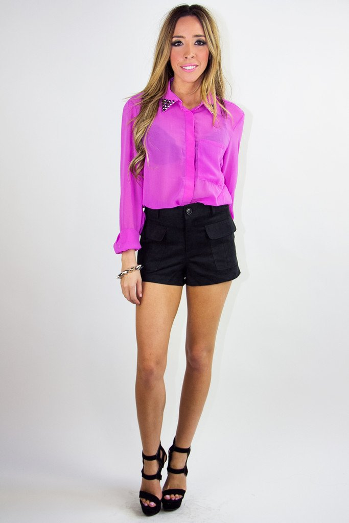 EMBELISHED COLLAR CHIFFON BLOUSE - Fuchsia