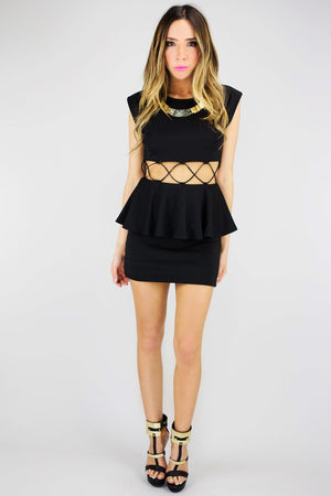 CORIN CUTOUT WAIST PEPLUM DRESS - Haute & Rebellious