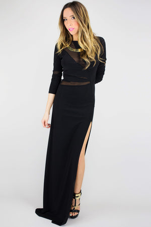 VINCENT MESH DETAIL HIGH-SLIT MAXI DRESS - Haute & Rebellious